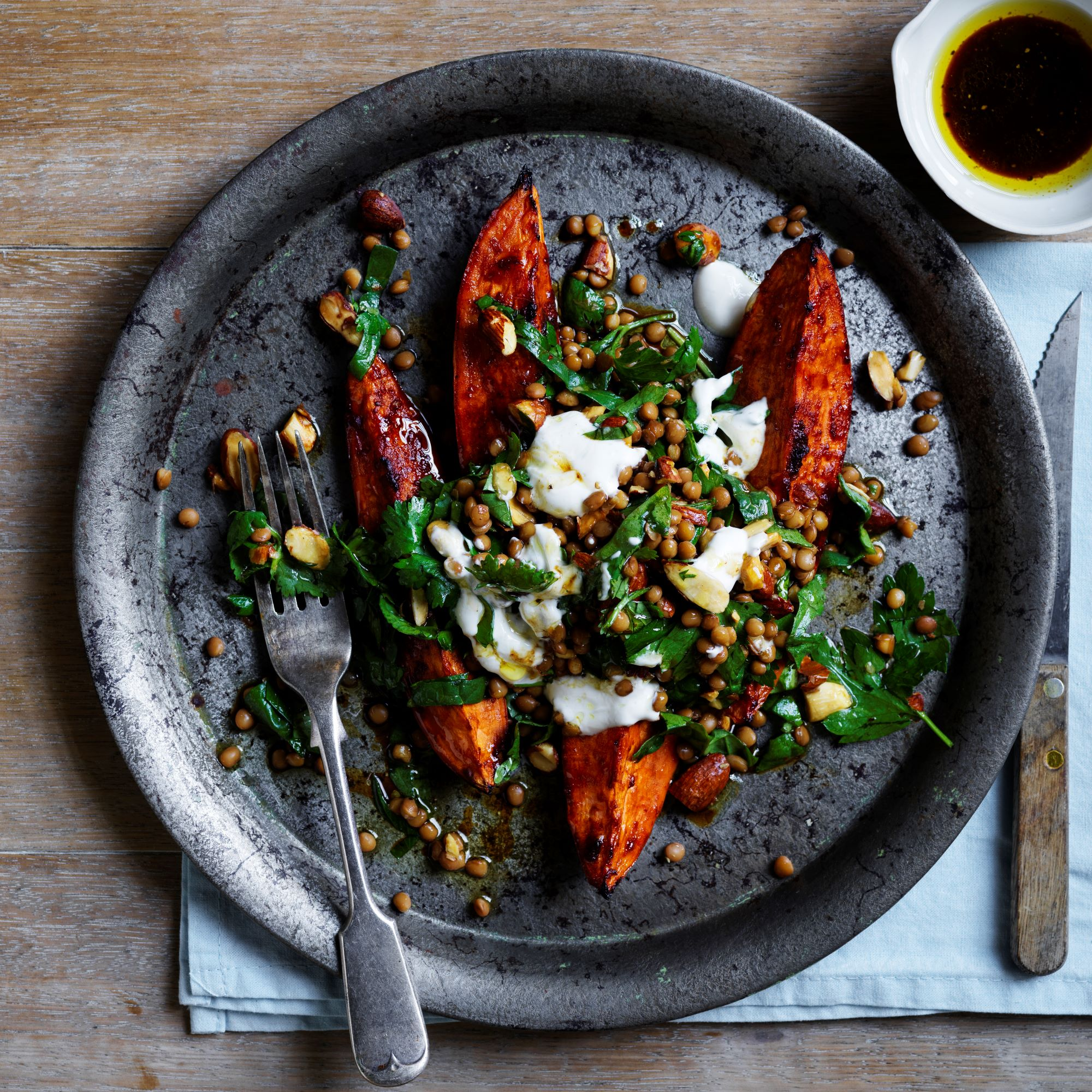 Sweet potato lentil and spinach salad