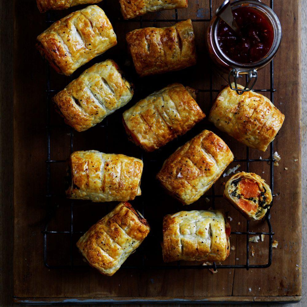 Sweet potato, silverbeet feta rolls
