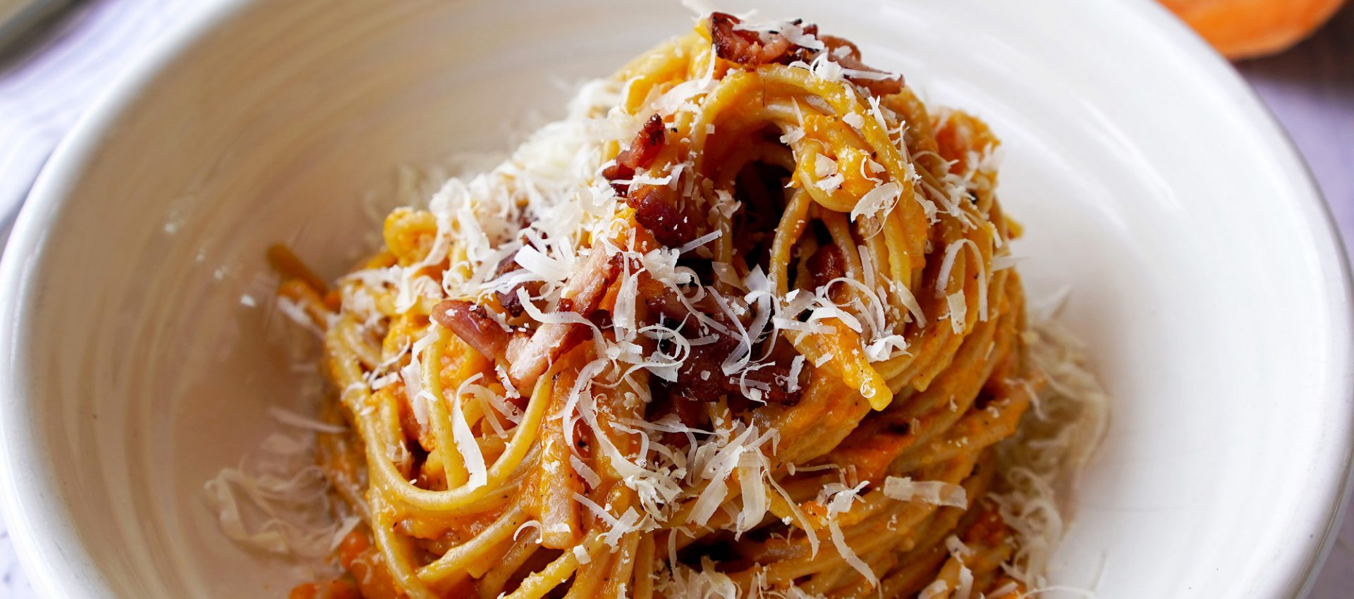 Healthier Sweet Potato and Spelt Carbonara