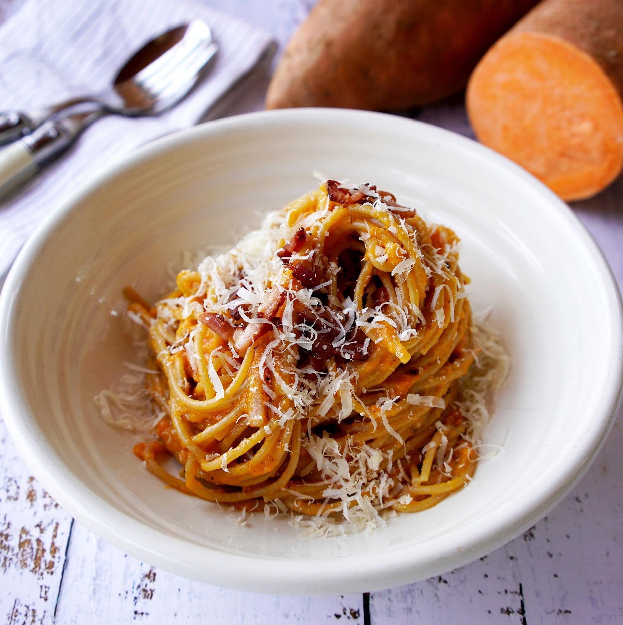 Healthier Sweet Potato and Spelt Carbonara