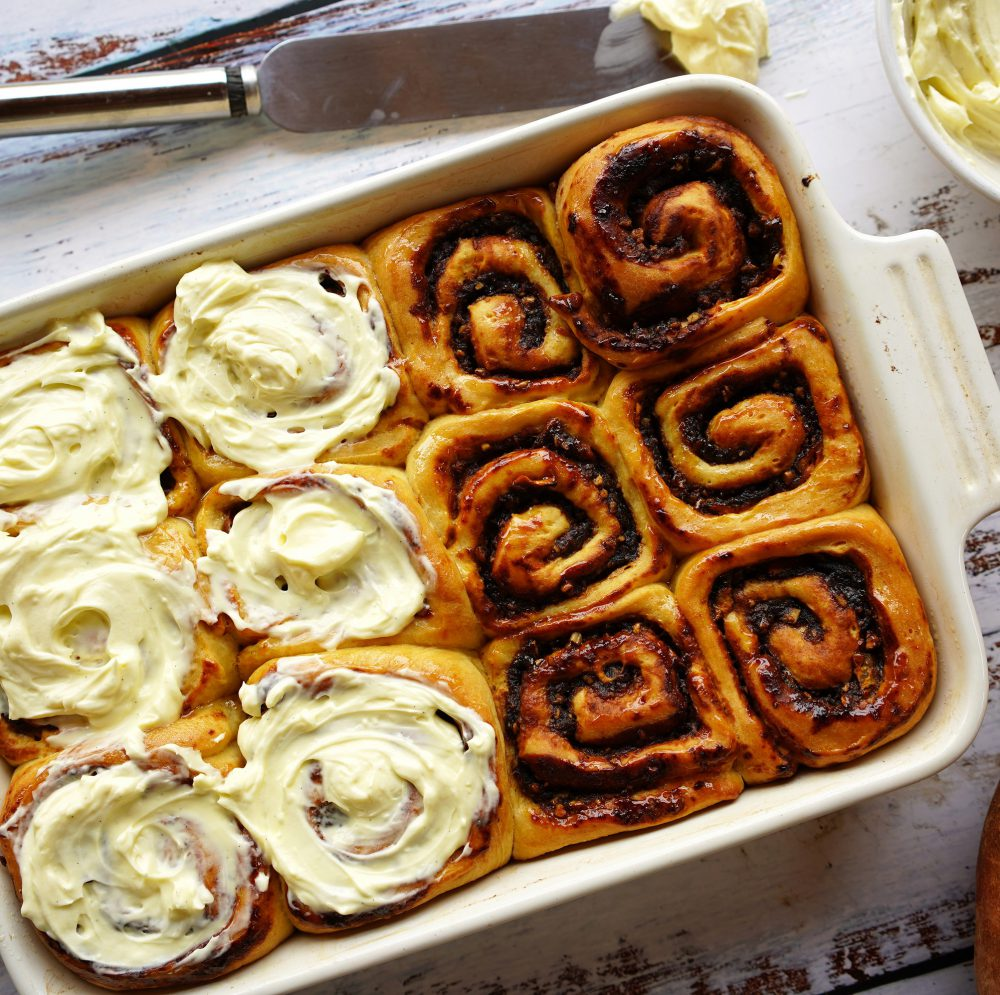 Sweet potato cinnamon scrolls with cream cheese frosting
